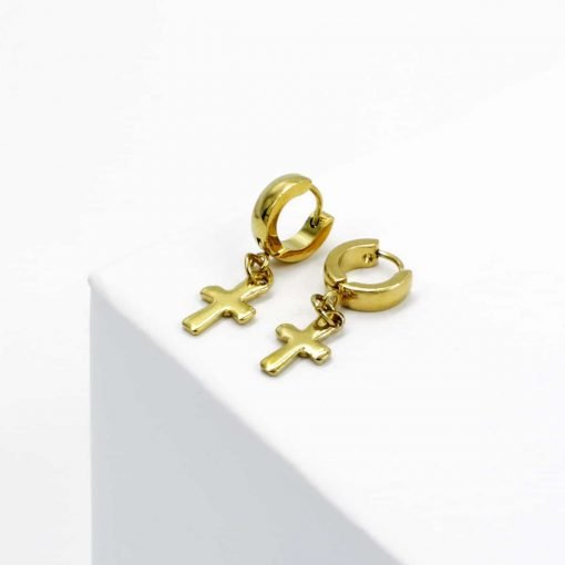 Χρυσό σκουλαρίκι με κρεμαστό σταυρό