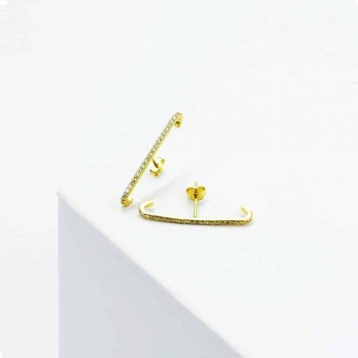 Χρυσά σκουλαρίκια μπάρα με ζιρκόν μεγάλα