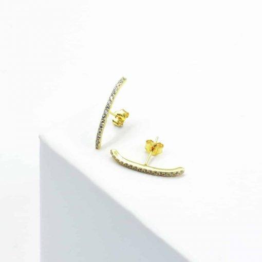Χρυσό σκουλαρίκι μπάρα με ζιρκόν μικρό