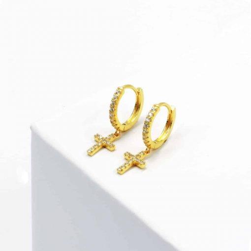 Ζευγάρι χρυσά σκουλαρίκια σταυροί με κρικάκι με ζιρκόν