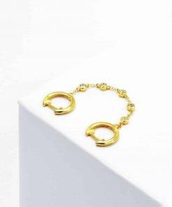 Χρυσό διπλό σκουλαρίκι με αλυσίδα με ζιρκόν