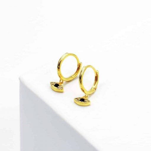 Χρυσά σκουλαρίκια με κρεμαστό ματάκι