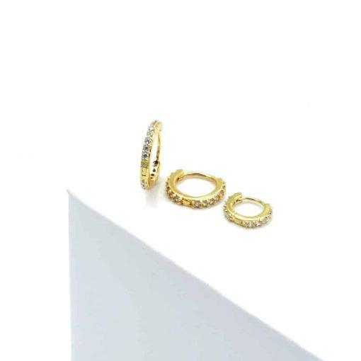 Επίχρυσο σκουλαρίκι με λευκά ζιρκόν
