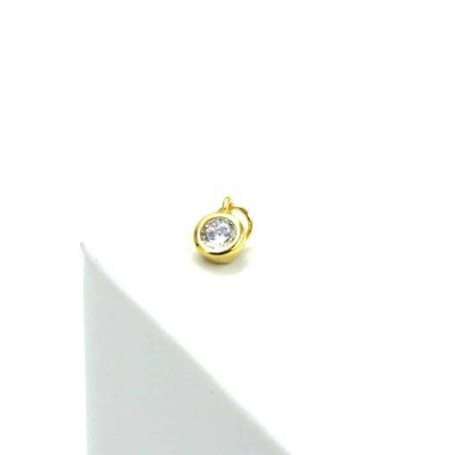 Χρυσό σκουλαρίκι με ζιρκόν διαμαντάκι