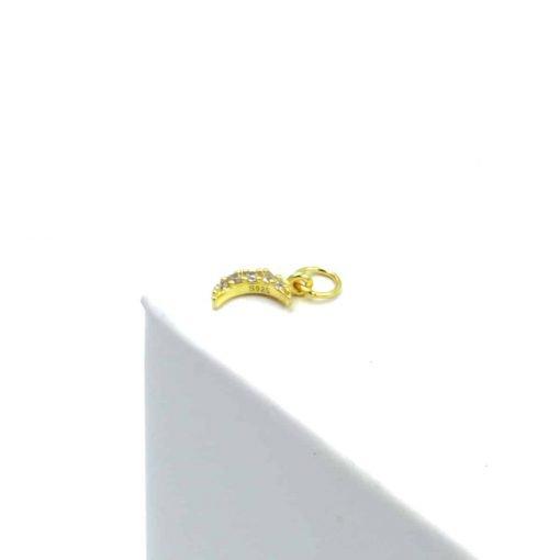 Χρυσό σκουλαρίκι μισοφέγγαρο με ζιρκόν