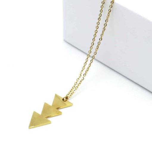 Χρυσό κολιέ με κρεμαστό ανάποδο τριπλό τρίγωνο