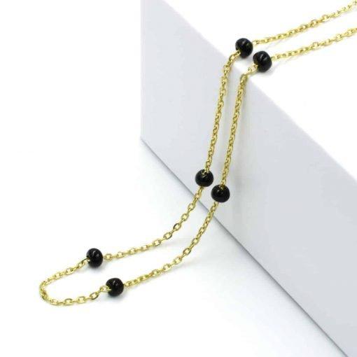 Χρυσό ροζάριο με μαύρες χοντρές χάντρες