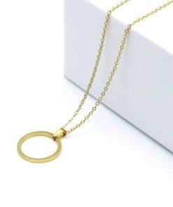 Χρυσό κολιέ με κρεμαστο κενό κύκλο