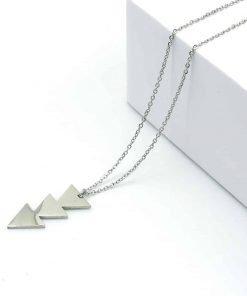 Ασημί κολιέ με ασημί κρεμαστό τριπλό τρίγωνο