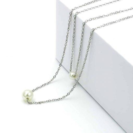 Διπλή ασημί αλυσίδα με 2 πέρλες