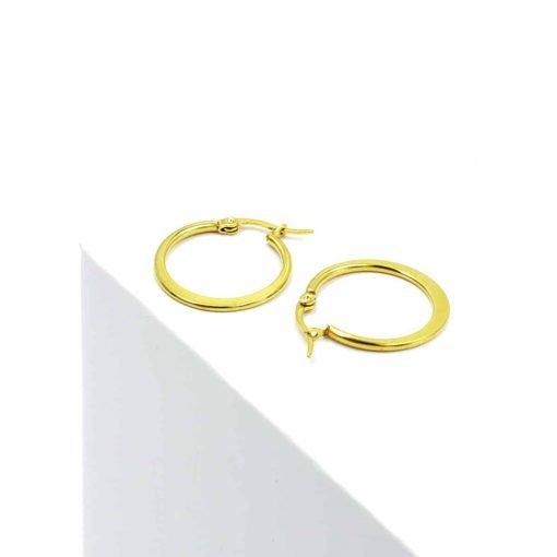 Χρυσοί κρίκοι πλακέ μεσαίου μεγέθους