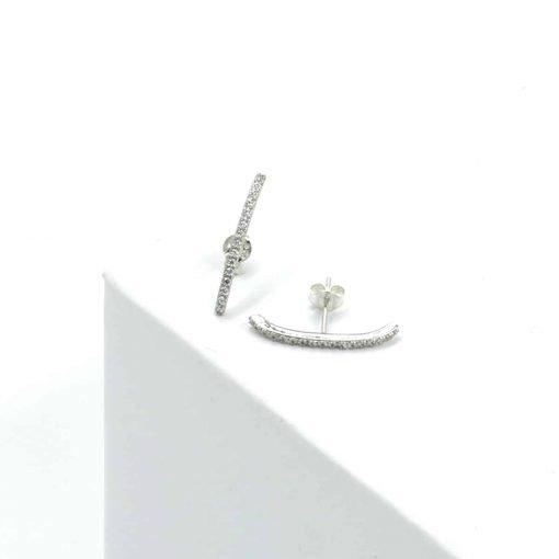 Ασημί σκουλαρίκι μπάρα με ζιρκόν μικρό