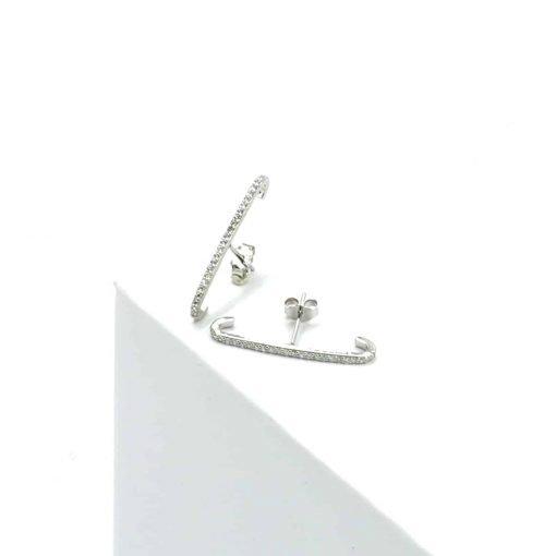 Ασημί σκουλαρίκια μπάρα με ζιρκόν μεγάλα