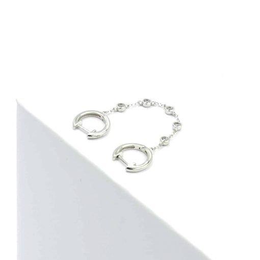 Ασημί διπλό σκουλαρίκι με αλυσίδα με ζιρκόν