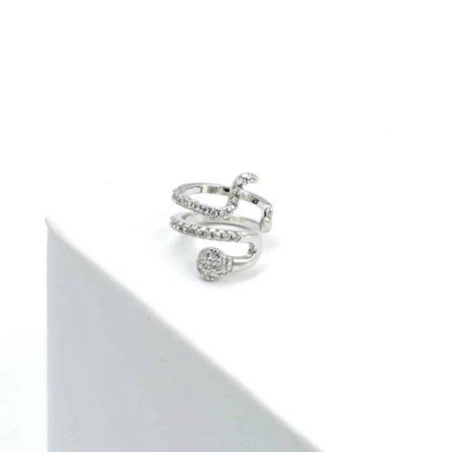 Ασημί snake σκουλαρίκι με ζιρκόν