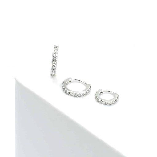 Ασημί σκουλαρίκι με ζιρκόν
