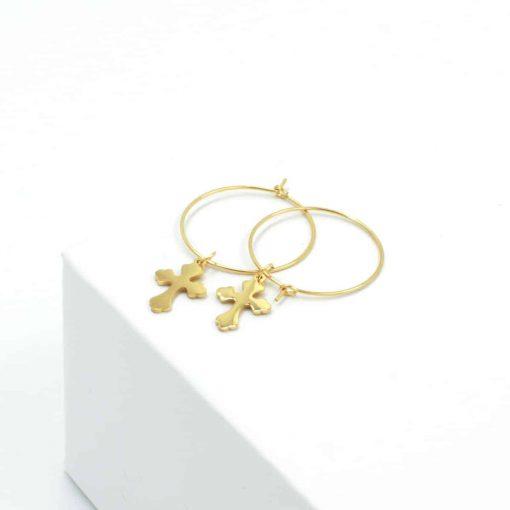 Χρυσά σκουραρίκια κρίκοι με κρεμαστό σταυρό