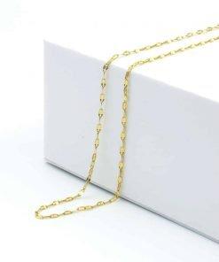 Χρυσή αλυσίδα λεπτή σε σχήμα σφυρίλατο φύλλο