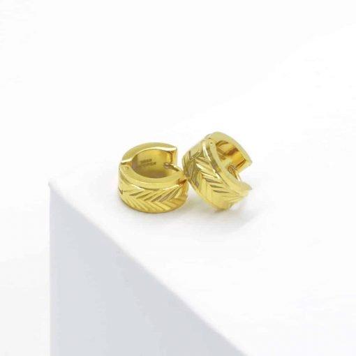 Χρυσά πλακέ σκουλαρίκια πλατιά