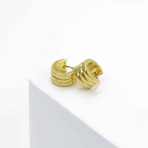 Χρυσά σκουλαρίκια ριγέ πλατιά
