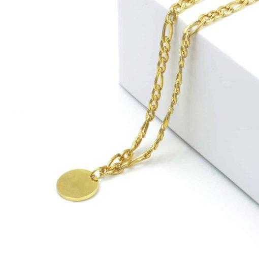 Χρυσό κολιέ με χοντρή αλυσιδα και κρεμαστό νόμισμα
