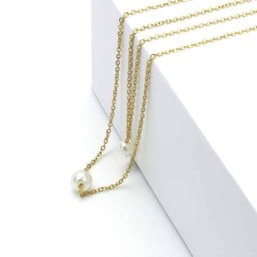 Χρυσό διπλό κολίε με πέρλα σε κάθε αλυσίδα