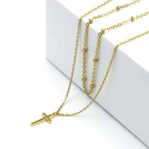 Χρυσό διπλό κολιέ με αλυσίδα με χρυσές χάντρες και δεύτερη αλυσίδα με σταυρό
