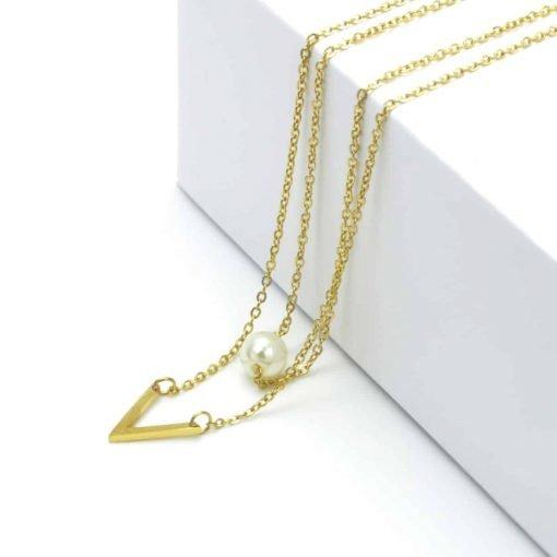 Χρυσό κολιέ διπλό με κρεμαστή πέρλα και κρεμασρό ν