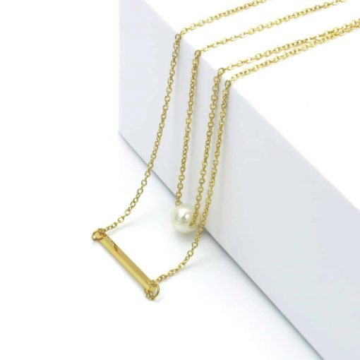 Χρυσό διπλό κολίε με πέρλα και μπάρα