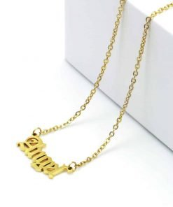 Χρυσό κολιέ με κρεμαστή επιγραφή angel