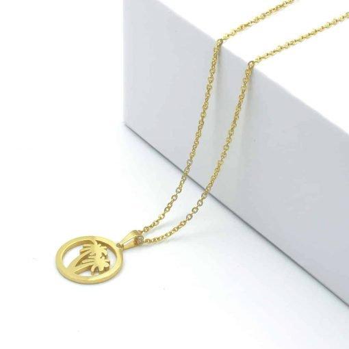 Χρυσό κολιέ με κρεμαστό κύκλο με φοίνιικα στην μέση