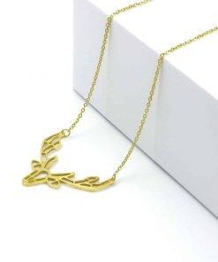 Χρυσό κολιέ με κρεμαστό τάρανδο