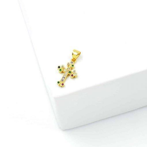Χρυσός σταυρός με χρωματιστά ζιρκόν