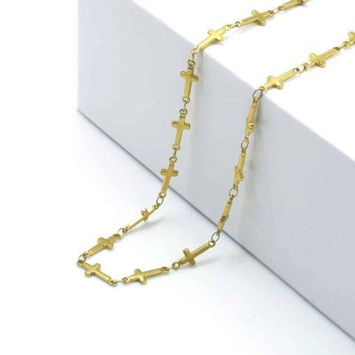 Χρυσό κολιέ απο ενωμένα σταυρουδάκια