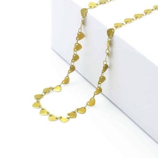 Χρυσό κολιέ απο κρεμαστές καρδούλες