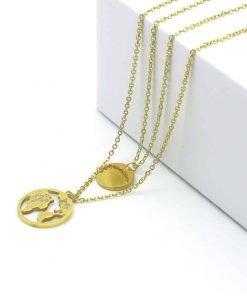 Χρυσή διπλή αλυσίδα με 2 κρεμαστά, ένα νόμισμα και ένα με την ήπειρο της Αφρικής