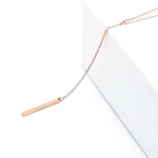 Ροζέ χρυσή αλυσίδα με κρεμαστή μπάρα
