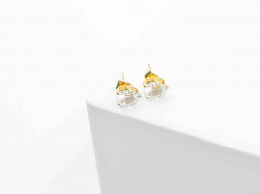 Χρυσά σκουλαρίκια με λευκή περλά