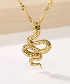 Χρυσό κολιέ με κρεμαστό σύμβολο φίδι