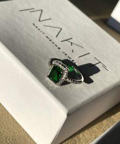Δαχτυλίδι με επίστρωση ζιρκόν και μεγάλο πράσινο ζιρκόν στο κεφάλι