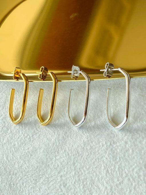 Χρυσά και ασημένια πολυγωνικά σκουλαρίκια