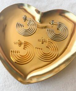Χρυσά και ασημένια σκουλαρίκια με ελικοειδές σχήμα
