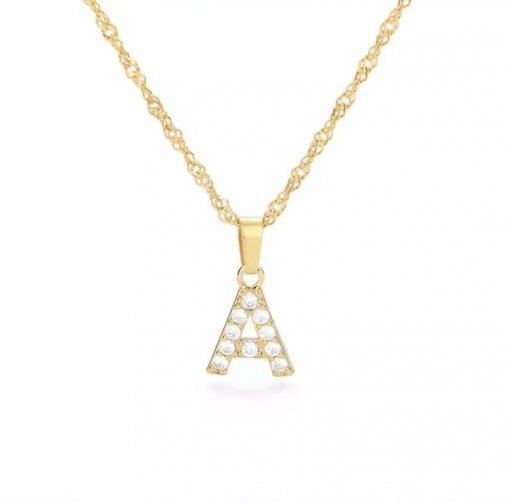 Χρυσό κολιέ με κρεμαστό σύμβολο μονόγραμμα A με επίστρωση ζιρκόν