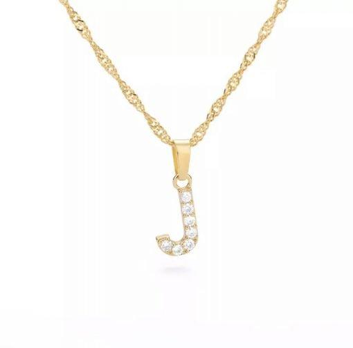 Χρυσό κολιέ με κρεμαστό σύμβολο μονόγραμμα J με επίστρωση ζιρκόν
