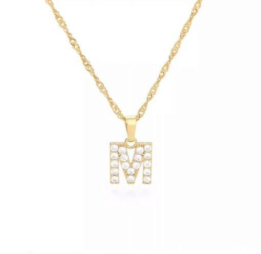 Χρυσό κολιέ με κρεμαστό σύμβολο μονόγραμμα M με επίστρωση ζιρκόν