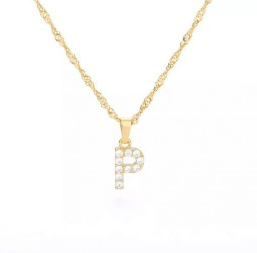 Χρυσό κολιέ με κρεμαστό σύμβολο μονόγραμμα P με επίστρωση ζιρκόν