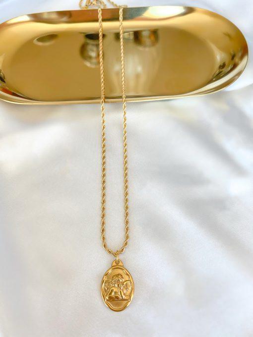 Χρυσό κολιέ με κρεμαστό σύμβολο με αγγελάκι
