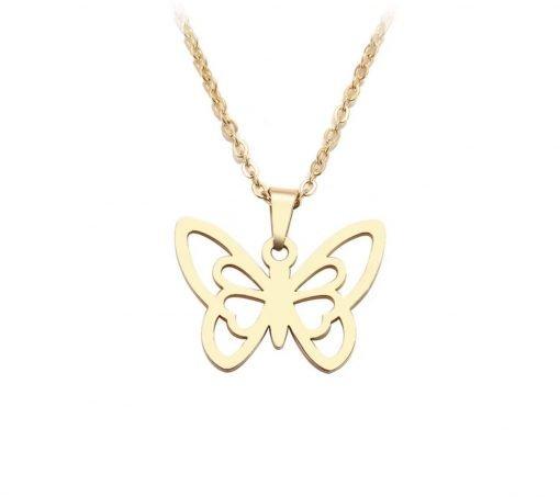 Χρυσό κολιέ με κρεμαστό σύμβολο πεταλούδα
