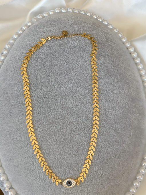 Χρυσό choker με σύμβολο ματάκι με επίστρωση ζιρκόν